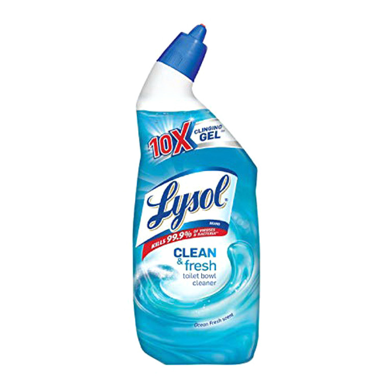 Lysol Clinging Gel Clean and Fresh Toilet Bowl Cleaner, Ocean Fresh Scent, 24 Oz
