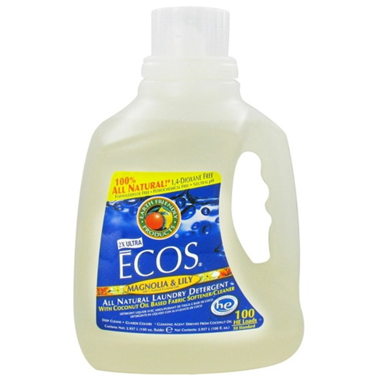 Earth Friendly Ecos 2X Ultra Laundry Detergent, Magnolia And Lily - 100 Oz
