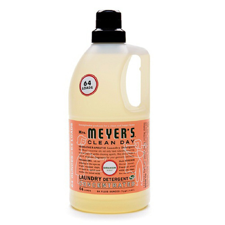 Mrs. Meyers Clean Day Laundry Detergent Concentrated, Geranium - 64 Oz, 64 Loads