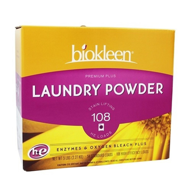 Biokleen Premium Plus Laundry Powder With Enzymes and Oxygen Bleach Plus, 5 Lbs