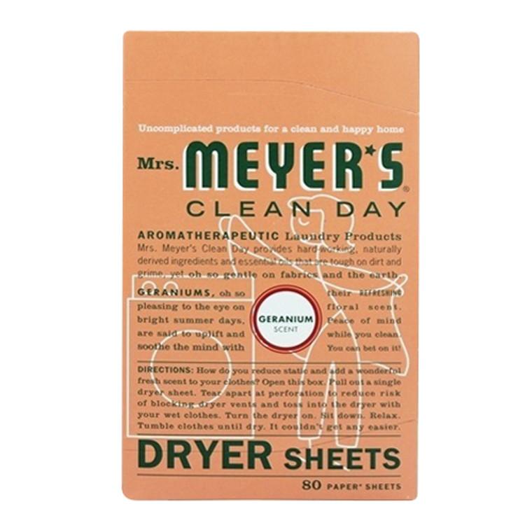 Mrs. Meyers Clean Day Dryer Sheets Geranium, 80 Ea