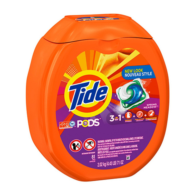 Tide PODS Liquid Detergent Pacs, Spring Meadow,81 loads, 4 Pack
