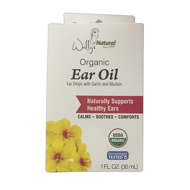 Wallys Natural Organic Ear Oil Drops With Garlic and Mullein, 1 Oz