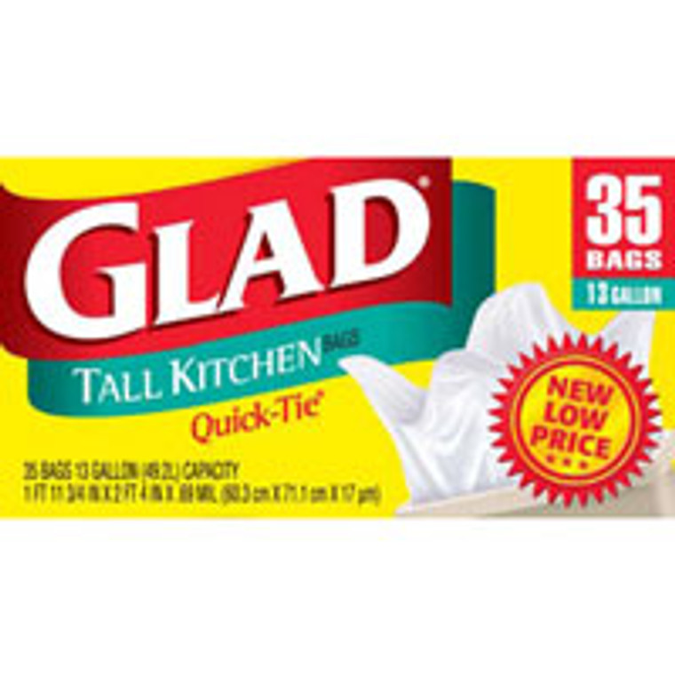 Glad Tall Kitchen Bags, 13 Gallon - 35 / Box, 12 / Case