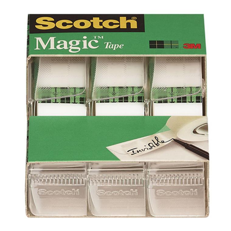 3M Scotch Magic Transparent Tape 0.75 Inc x 300 Inc, 3 Rolls