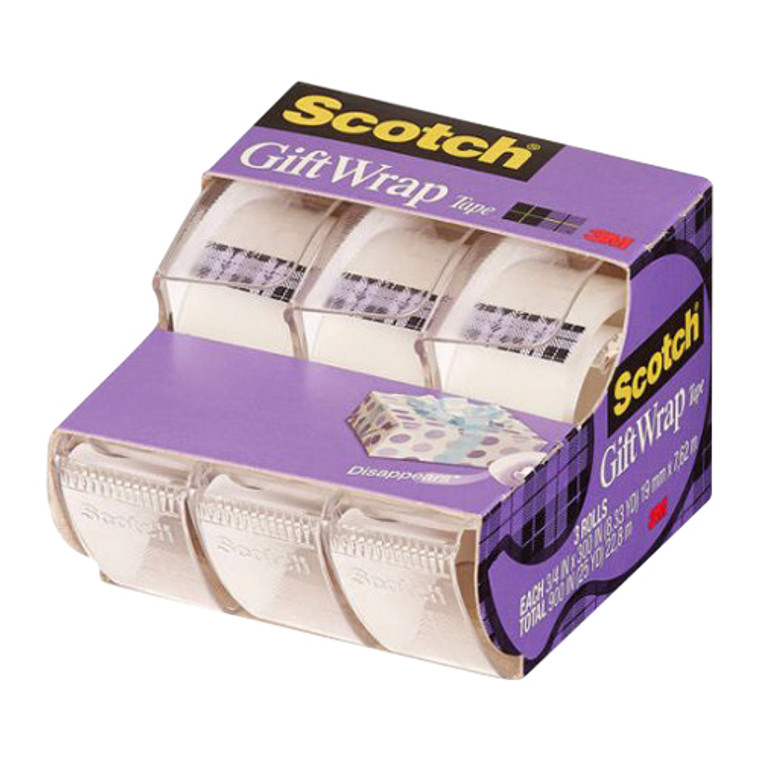 Scotch Gift Wrap Tape Rolls, 0.75 X 300 Inches, 3 Ea