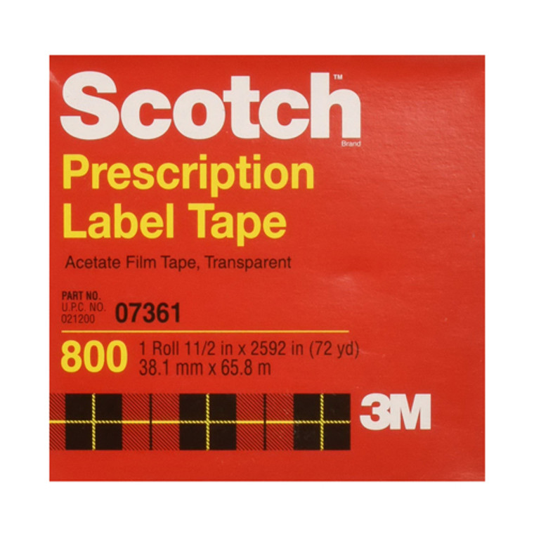 Scotch Prescription Label Tape, Acetate Film Tape, Transparent 800, 1 ? In by 2 1/2 In, 1 Ea
