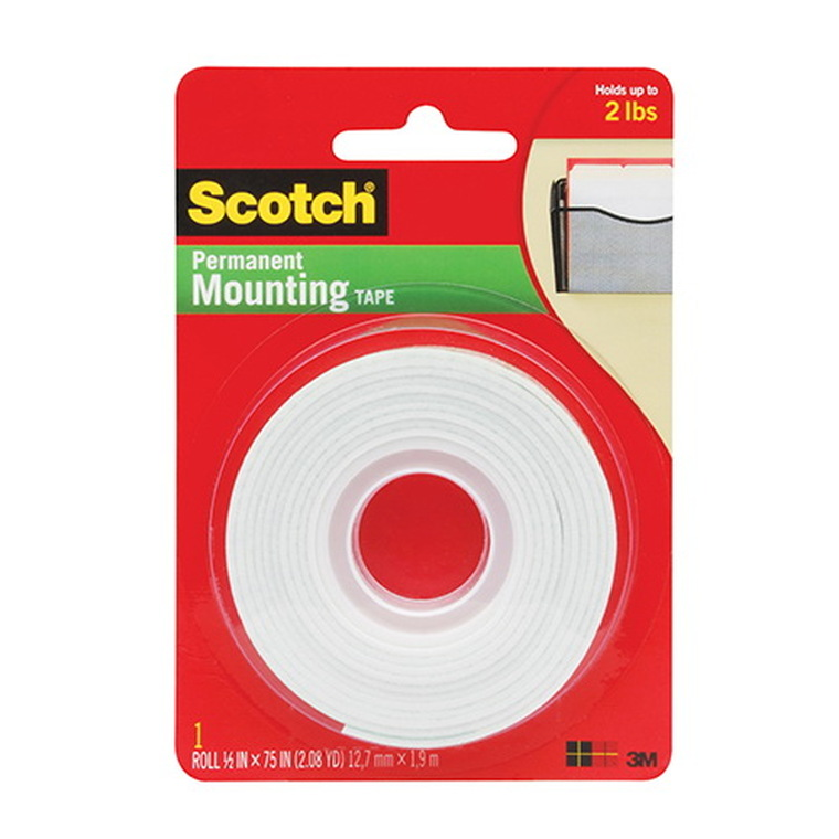 3M Scotch Permanent Mounting Double Sided Tape, 1 Ea