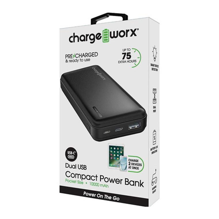 Chargeworx 10000mAh Dual USB Slim Power Bank, Black, 1 Ea
