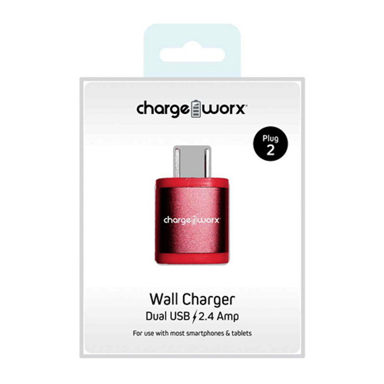 Chargeworx 2.4Amp Dual USB Wall Charger, Pink, 1 Ea