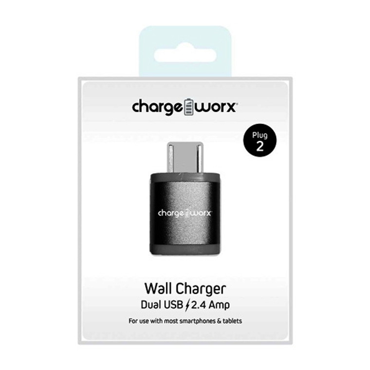Chargeworx 2.4Amp Dual USB Wall Charger, Silver, 1 Ea