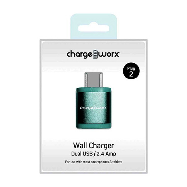 Chargeworx 2.4Amp Dual USB Wall Charger, Teal, 1 Ea