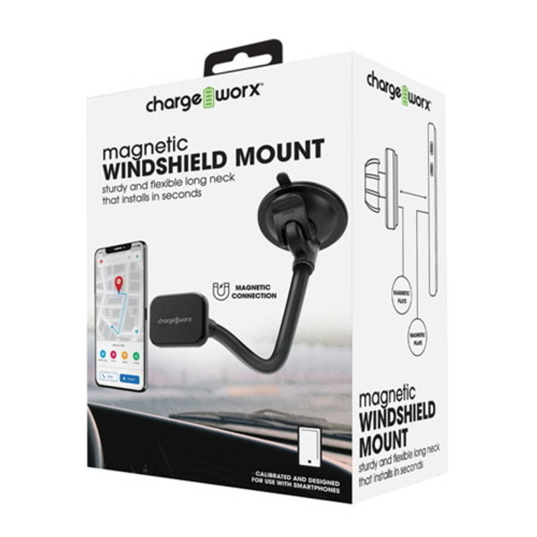 Chargeworx Long Arm Magnetic Windshield Mount, Black, 1 Ea