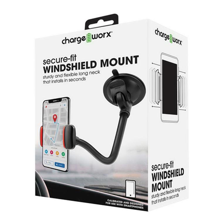 Chargeworx Secure Fit Windshield Phone Mount, Black, 1 Ea