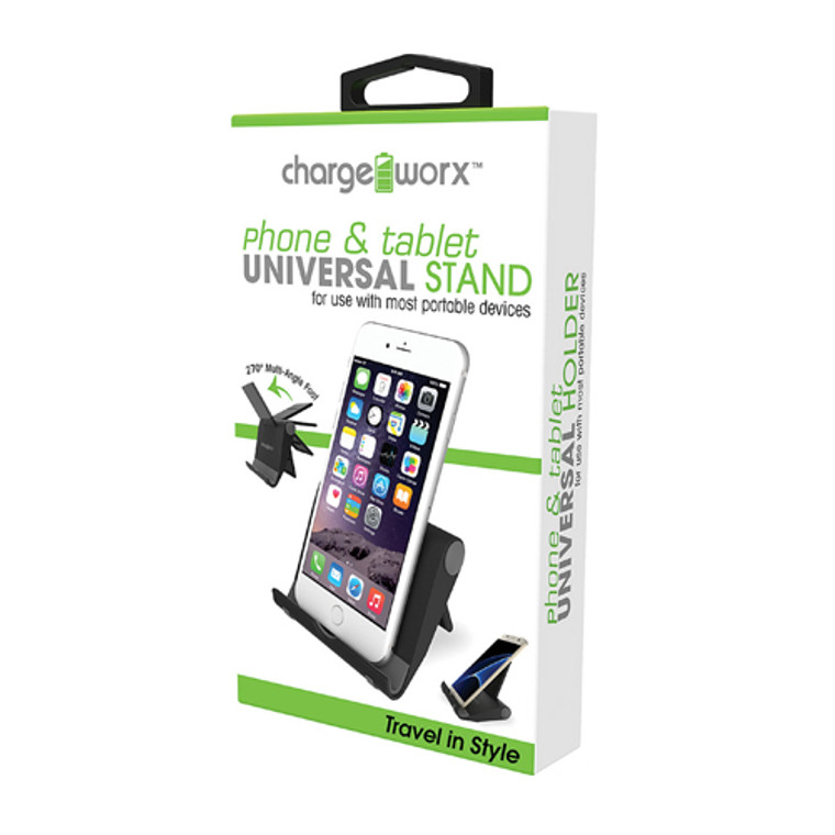 Chargeworx Universal phone and Tablet Stand Folding, Black, 1 Ea