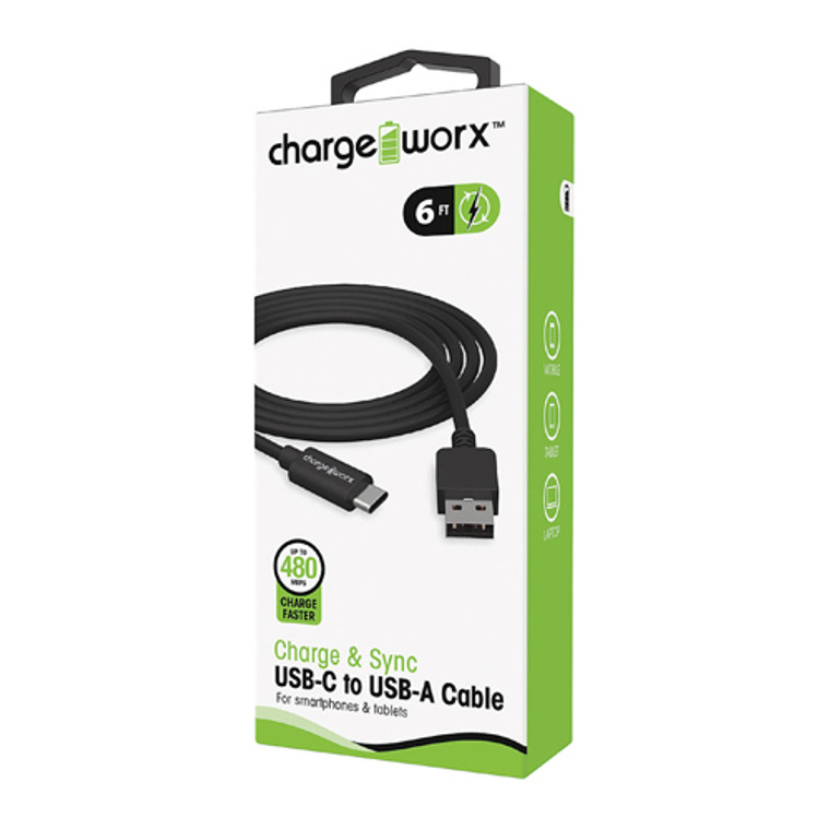 Chargeworx 6ft USB-C to USB-A Sync & Charge Cable, Black, 1 Ea