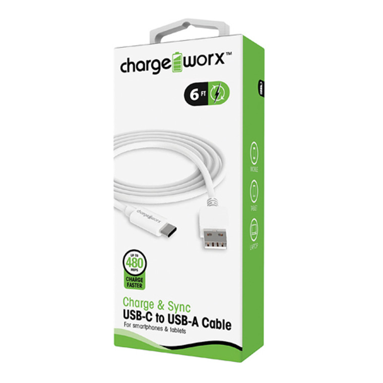 Chargeworx 6feet USB-C to USB-A Sync & Charge Cable, White, 1 Ea