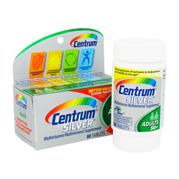 Centrum Silver Multivitamin And Multimineral Tablets For Adults 50+ - 80 Ea