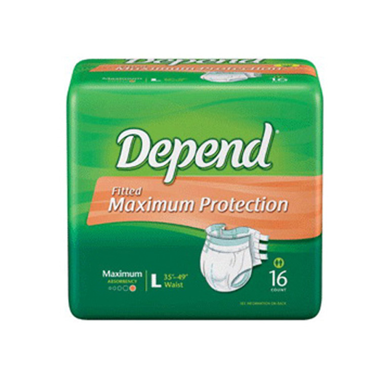 Depend Fitted Briefs Maximum Protection, Large - 16 Ea, 3 Pack