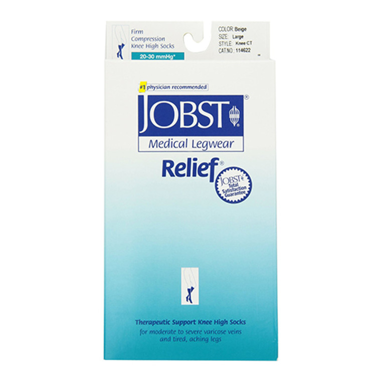 Jobst Medical Legwear Stockings Relief Compression Knee High, 20-30 Mm/Hg, Closed Toe Beige, Large - 1 Ea
