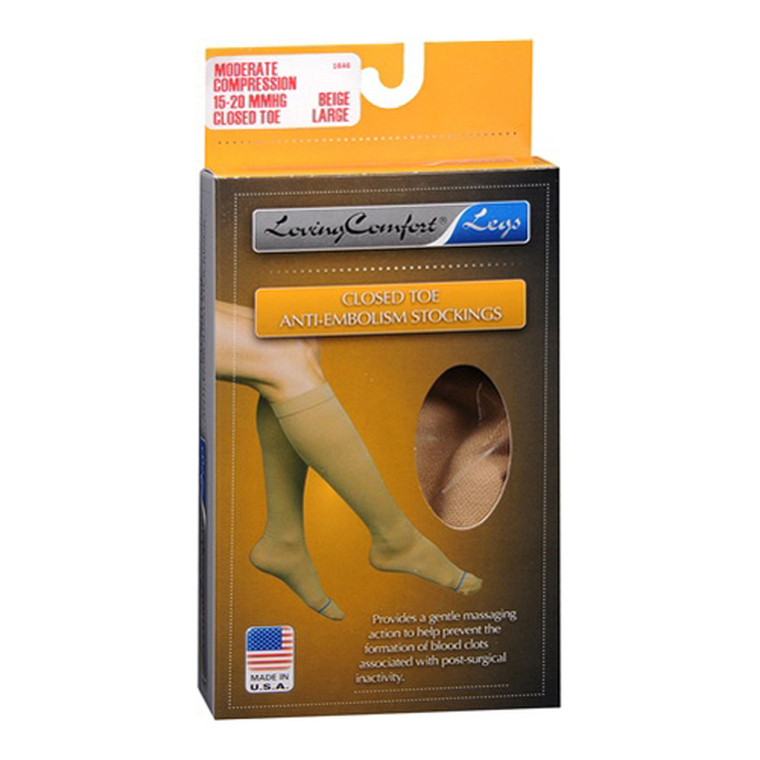 Loving Comfort Anti-Embolism Stockings Closed Toe Moderate, Large, 1 Pair