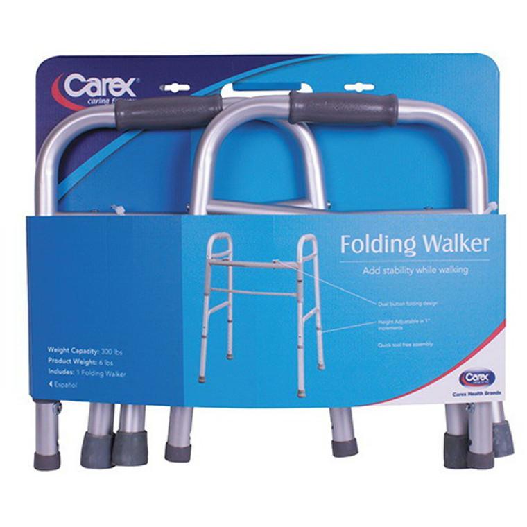 Carex Health Brands Dual Button Folding Design Walker, 300 Lbs Weight Capacity - 1 Ea