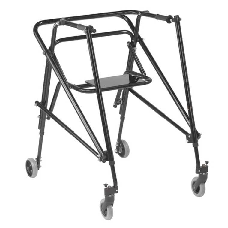 Drive Medical Nimbo 2G Lightweight Posterior Walker with Seat 36inc(H) x 29inc(L) x 37inc(W), Extra Large, Emperor Black