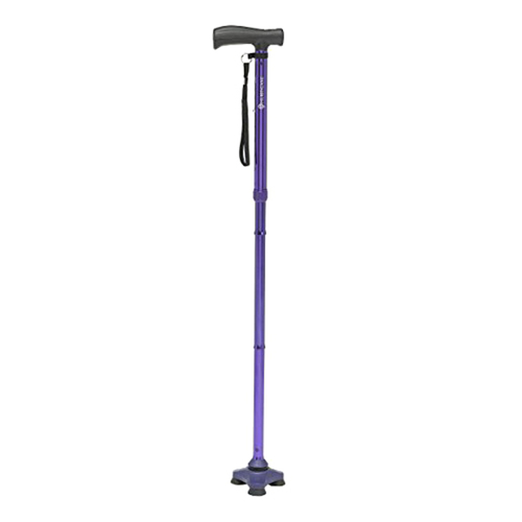 Drive Medical HurryCane Freedom Edition Folding Cane with T Handle, Pathfinder Purple, 1 Ea