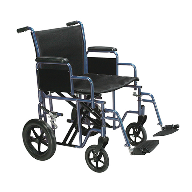 Drive Medical 20 Inches Bariatric Steel Transport Chair, Blue Frame And Black Upholstery Color - 1 Ea, Btr20-B