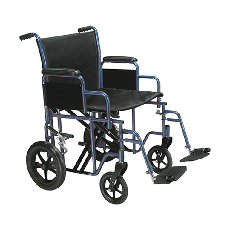 Drive Medical 22 Inches Bariatric Steel Transport Chair, Blue Frame And Black Upholstery Color - 1 Ea, Btr22-B