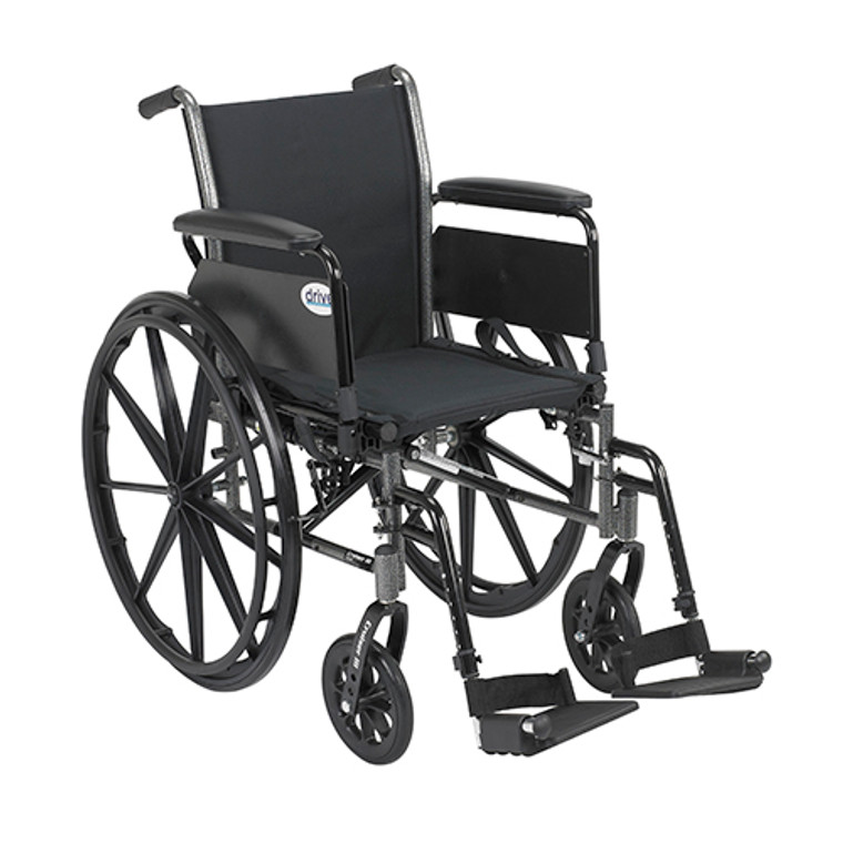 Drive Medical Cruiser Iii Wheelchair 18 Inches Flip Back Detachable Full Arms Swing-Away Footrest - 1 Ea, K318Dfa-Sf