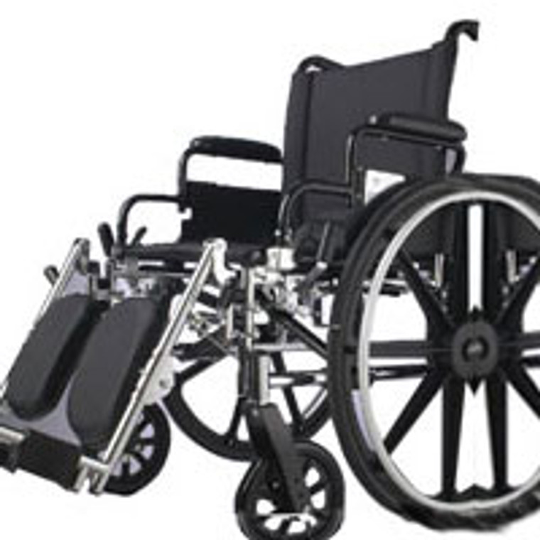 Medline Excel K1 Basic Wheelchair With Detach Swing Way Footrests - 18 Inches