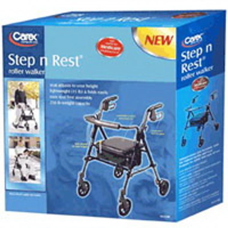 Carex Step N Rest 4-Wheel Roller Walker Of 250 Lb Weighing Capacity, #A223-00 - 1 Ea
