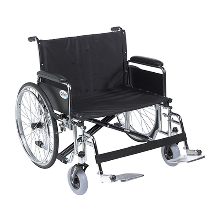 Drive Medical Sentra EC Heavy Duty Wheelchair with Detachable Full Arm and Swing Away Footrests, 26 inch Seat