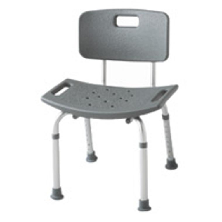 Medline Adjustable Bath Bench With Back Assembled, Color: White - 1 / Case