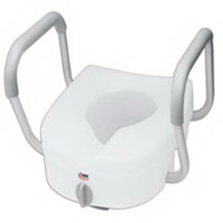 Carex E-Z Lock Raised Toilet Seat W/ Adjustable Armrests, White