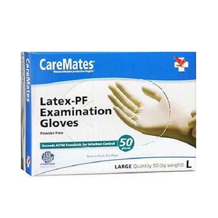 Caremates Latex-PF Examination Gloves Large, 50 Ea