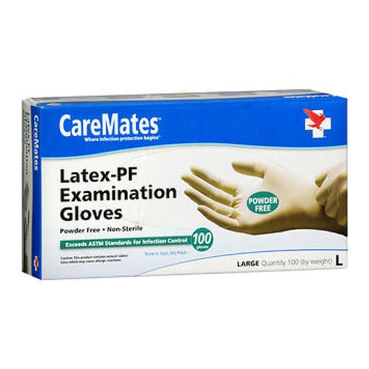 Caremates Disposable Medical Exam Gloves Latex Powder Free, Large, 100 Ea