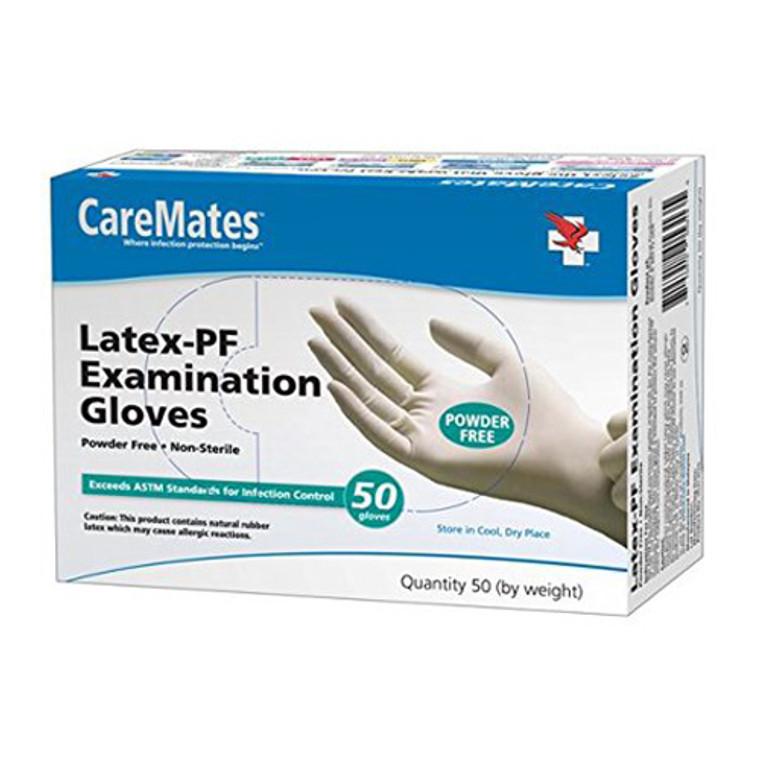 CareMates Textured Latex Powder Free Gloves, Small, 50 Ea