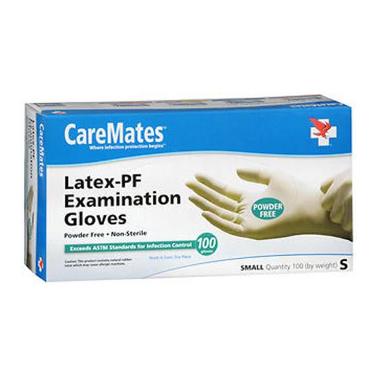 CareMates Textured Latex Powder Free Gloves, Small, 100 Ea