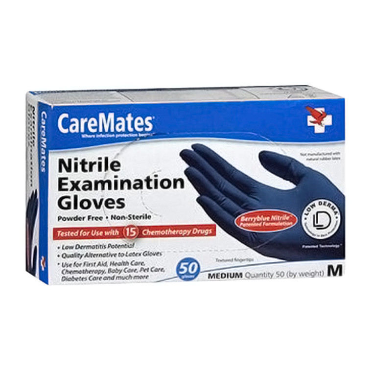 CareMates Powder Free Nitrile Examination Gloves Medium, 50 Ea