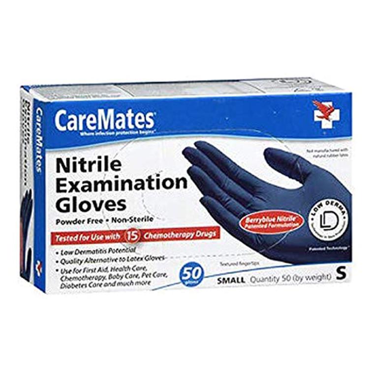Caremates Caremates Nitrile-Pf Examination Gloves Small, 50 Ea