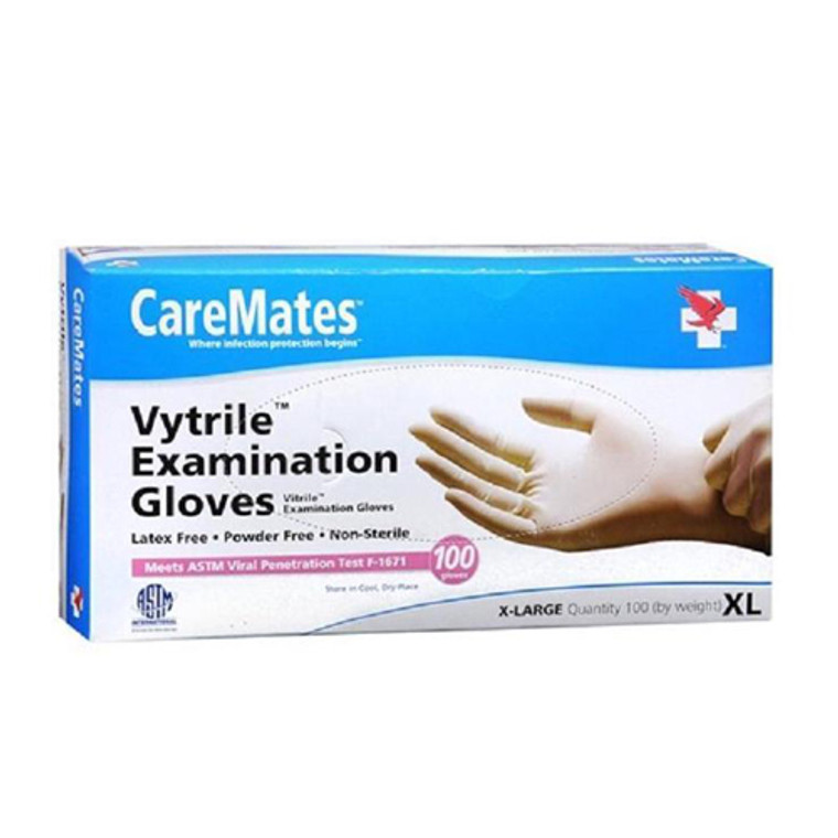 CareMates Vytrile Examination Gloves Powder Free X-Large, 100 Ea