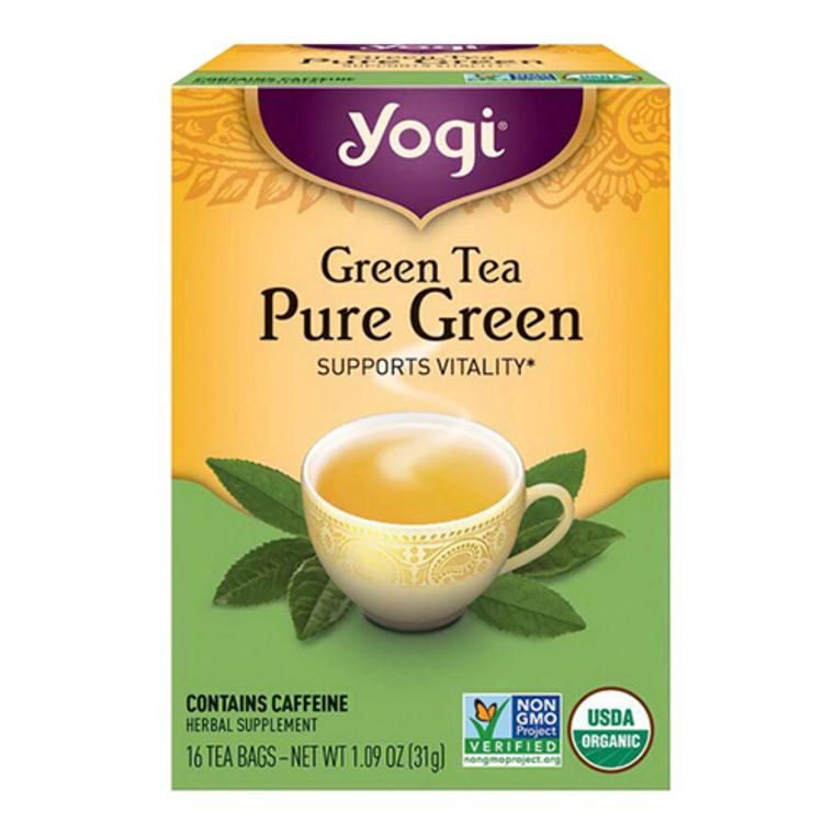Yogi Green Tea Pure Green Herbal Supplement Tea Bags - 16 Ea