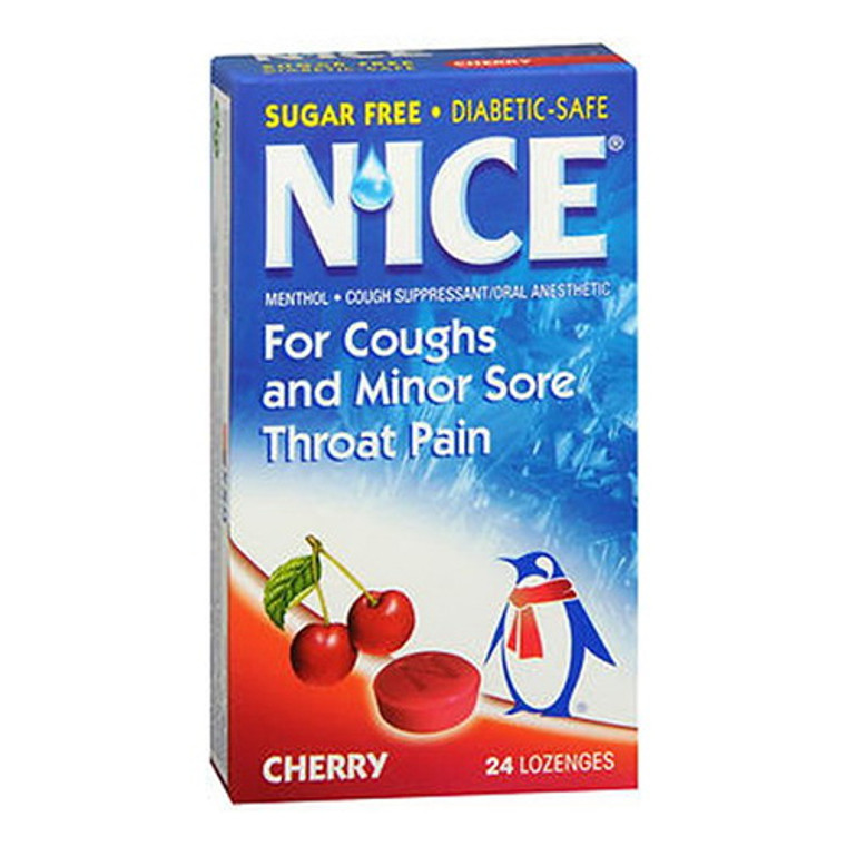 Nice Sugar Free Lozenges, Cherry For Coughs and Minor Sore Throat Pain, 24 ea/Pack, 3 Pack