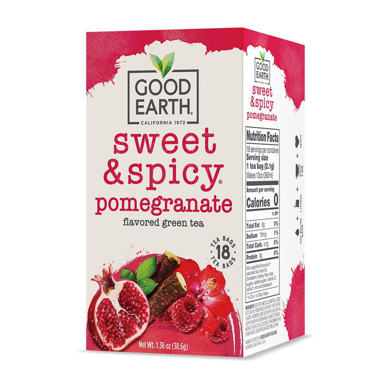 Good Earth Sweet and Spicy Pomegranate Flavored Green Tea, 18 Ea