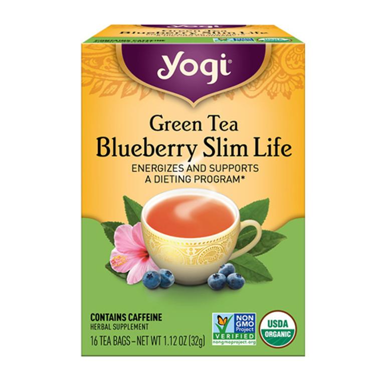Yogi Green Tea Blueberry Slim Life Herbal Supplement Tea Bags - 16 Ea