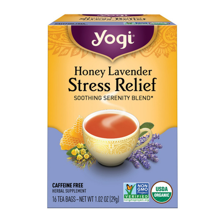 Yogi Tea Stress Relief Tea, Honey Lavender, Caffeine Free - 16 Tea Bags