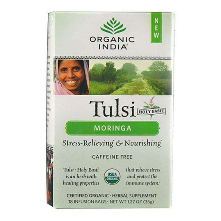 Organic India Tulsi Tea Moringa, Herbal Supplement, 18 Tea Bags