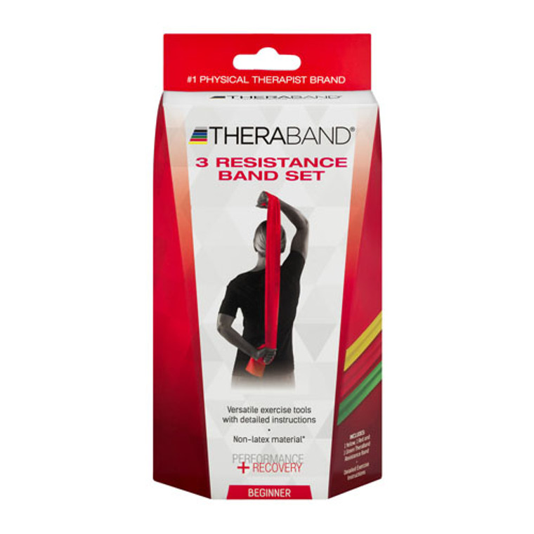 Theraband Latex free Resistance Bands, Beginners, 3 Ea